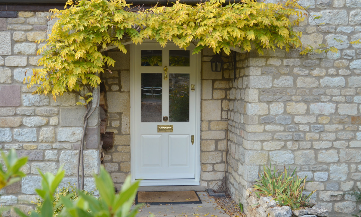 White painted timber front door